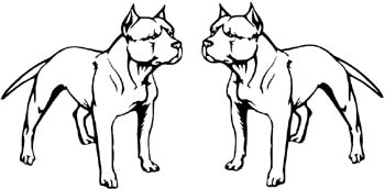 Two Pit bull dogs facing one another vinyl decal customized online.  Pitbull2
