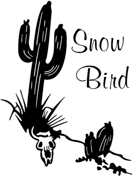 'Snow Bird' lettering in desert vinyl decal. Customized Online. 0018