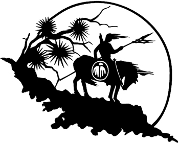 0020 Indian On Horse with Sun Decal Customized Online. 0020
