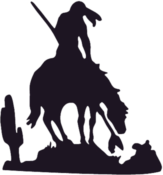 End of the Trail Indian on Horse silhouette Decal Customized Online. 0021