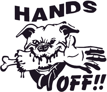 Bulldog with hand in mouth and 'Hands Off' lettering decal. Customized Online. 0041