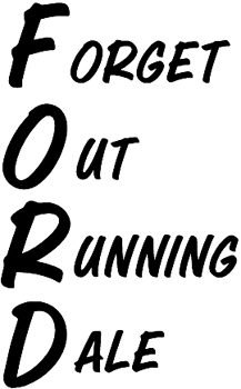'Forget Outrunning Dale' lettering decal Customized Online. 0085