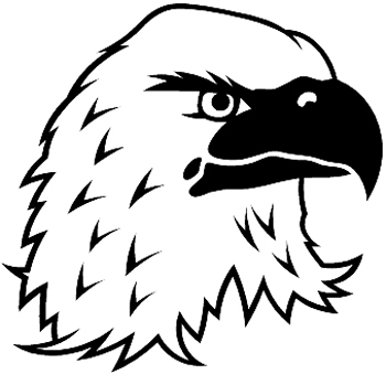 Bald Eagle's head mascot vinyl decal. Customized Online. 0148