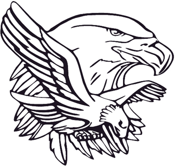 Eagle Head and Flying Eagle Mascot decal Customized Online. 0152