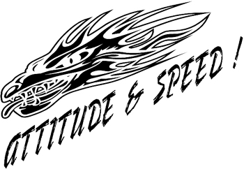 'Attitude and Speed' Flaming vinyl decal Customized Online. 0157