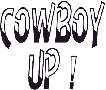 'Cowboy Up' Lettering vinyl Decal Customized Online. 0504