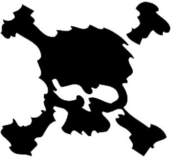 Skull and Crossed Bones Vinyl Decal Customized Online. 1145