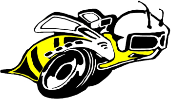 Bee with wheels vinyl sticker. Customize on line. 1161
