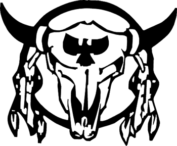 Cow skull with feathers Indian Decal Customized Online. 1606