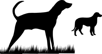 Hunting dogs silhouette vinyl sticker. Personalize on line. 3351