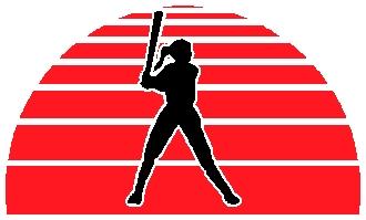Ladies softball action sports sticker. Customize on line. 1A6 - softball sticker decal