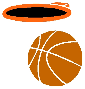 Basketball and hoop color sports decal. Customize on line. 1B10 - basketball sports vinyl graphic sticker