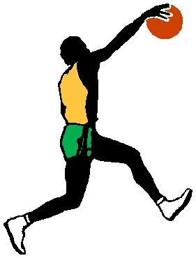 Basketball dunk full color sports sticker. Personalize on line. 1B11 - basketball player dunking ball decal