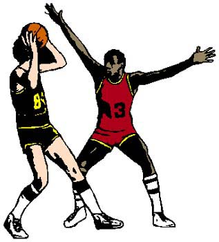 Basketball game action sports decal. Personalize on line. 1B12 - basketball players in game decal