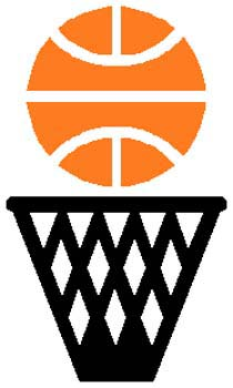 Basketball over hoop action sports sticker. Customize on line. 1B5 - basketball and goal decal