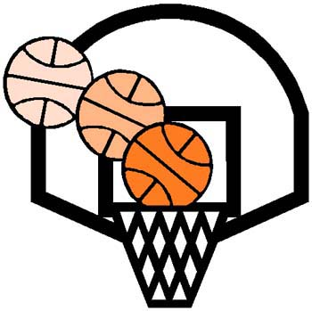 Basketball in the hoop color action sports decal. Personalize on line. 1B9 - basketball and goal decal