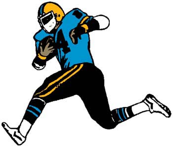 Football player sports action decal. Make it personal as you order.  1C13- football player decal
