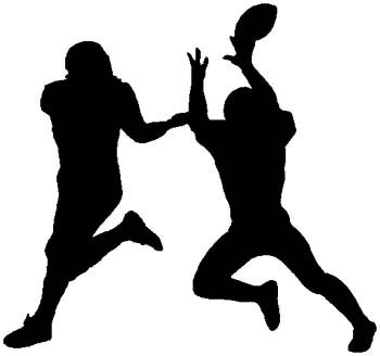 Football players action sports sticker.  Personalize on line. 1C18- football players decal