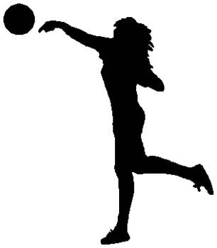 Lady volleyball player sports sticker. Customize on line. 1E11 - woman  volleyball player decal