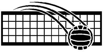 Volleyball over the net sports decal. Personalize on line. 1E4- volley ball  & net decal