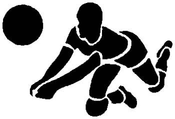 Volleyball player action sports decal. Customize on line. 1E7- volley ball  player decal