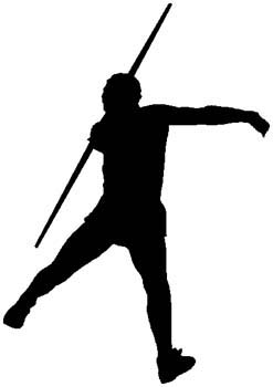 Javelin thrower action sports decal. Personalize on line. 1G11-