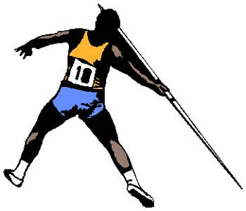 Javelin thrower full color sports sticker. Personalize as you order on line. 1G12- javelin throwing decal