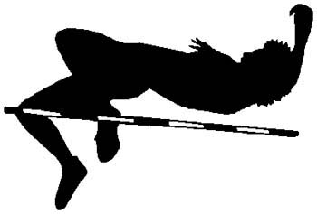 High jumper action sports sticker. Customize on line. 1G17 pole jumping vinyl sticker