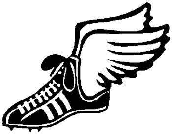Winged sports shoe action sports decal. Customize on line. 1G5- flying winged shoe vinyl decal