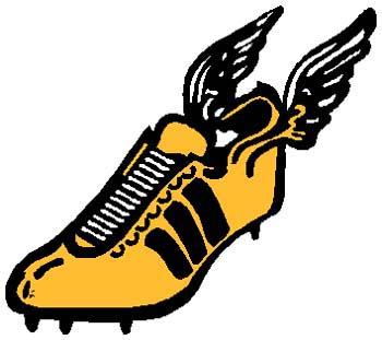 Winged sports shoe color sports decal. Personalize on line. 1G6- winged shoe decal