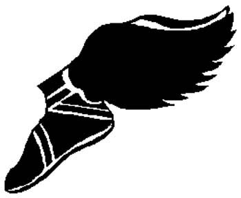 Winged shoe action sports sticker. Customize on line. 1G7 - winged shoe decal