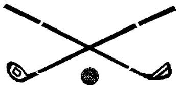 Golf clubs and ball action sports decal.  Personalize on line. 1J1- golf ball and clubs vinyl sticker