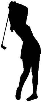 Lady golfer action sports decal. Customize as you order on line. 1J19- woman golfer vinyl sticker graphic decal