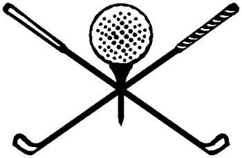 Golf ball and clubs sports decal. Personalize on line. 1J8-golf ball and clubs vinyl sticker decal