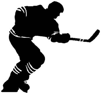 Hockey action sports sticker. Personalize as you order. 1K18 - hockey player vinyl decal