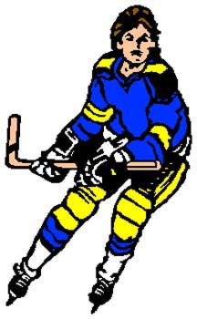 Hockey player action sports decal. Customize on line. 1K2 - hockey player vinyl decal