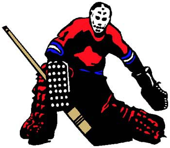 Hockey goalie color action sports decal. Personalize on line. 1K5 - hockey player goalie vinyl decal
