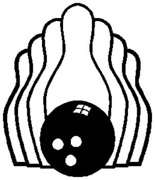 Bowling sports decal. Personalize as you order. 1L1- bowling ball and pins decal