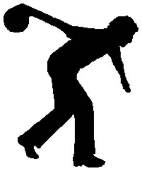 Bowling action sports decal. Customize on line. 1L11- man bowling decal