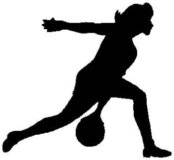 Lady bowler action sports sticker. Customize on line. 1L12- woman bowling decal