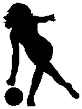 Lady bowler action sports decal. Personalize on line. 1L13- woman bowling decal
