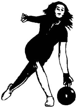 Lady bowler action sports decal. Customize as you order. 1L16- woman bowling decal