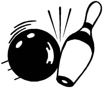 Bowling ball hitting pin action sports decal. Personalize as you order. 1L3- bowling ball & pin