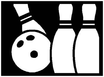 Bowling ball and pins sports sticker. Personalize as you order. 1L8-bowling decal