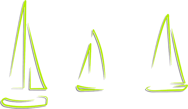 Sailboat trio color action sports decal. Customize on line. AUTO_BOAT_2C_58