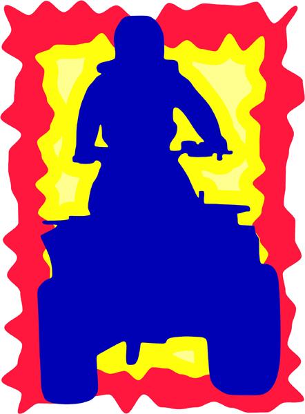 ATV and rider full color sports sticker. Personalize on line. AUTO_BOAT_3C_02