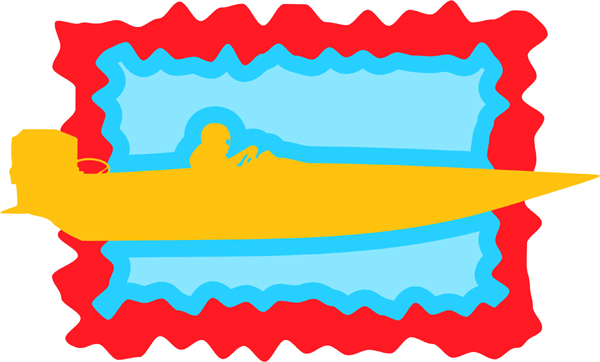 Speedboat full color action sports decal. Personalize on line. AUTO_BOAT_3C_06