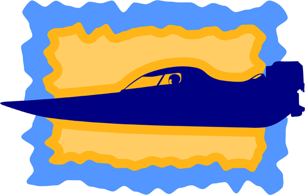Racing boat full color sports sticker. Customize on line. AUTO_BOAT_3C_13
