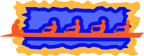 Rowing team in action full color sports sticker. Make it your own. AUTO_BOAT_3C_15
