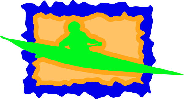 Kayaking full color sports sticker. Customize on line. AUTO_BOAT_3C_17
